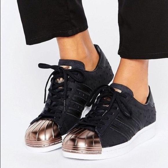 Adidas Black Superstar Sneaker Rose Gold Detail